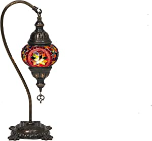 LaModaHome Turkish Moroccan Handmade Mosaic Glass Curvy Swan Neck Table Lamp Light with Decorative Dark Copper Fixture for Bedroom, Livingroom and Winter Garden, Red Moon