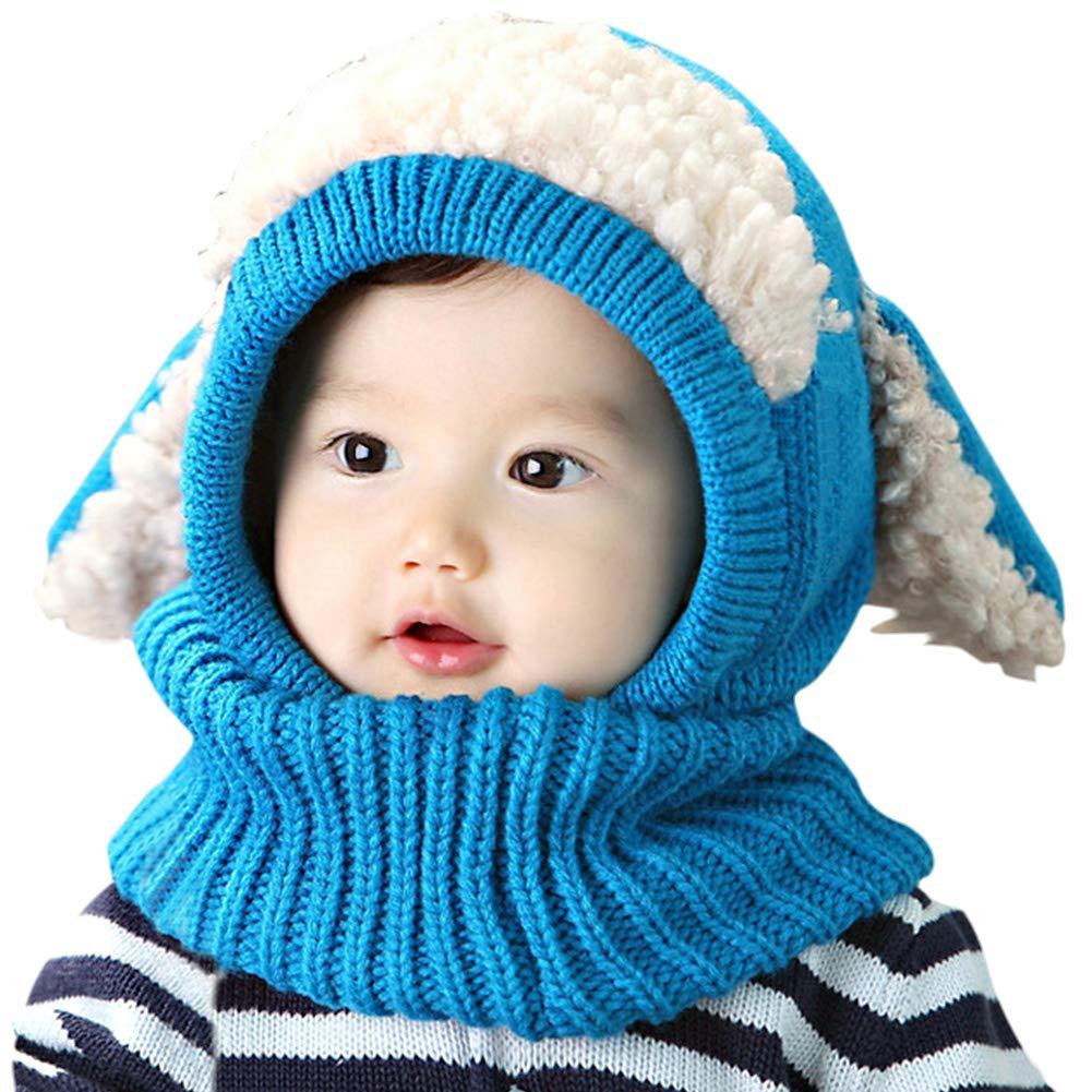 UKLink Bonnet et écharpe d'hiver pour Tout-Petits Bonnets d'hiver Chauds avec Cache-Oreilles pour bébés de 1 à 3 Ans