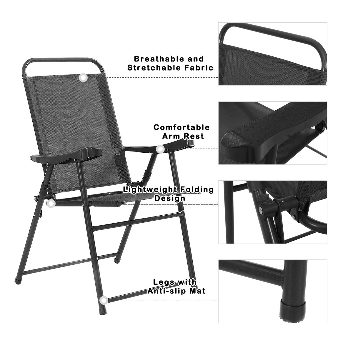 Giantex Set of 4 Folding Sling Chairs Patio Furniture Camping Pool Beach with Armrest