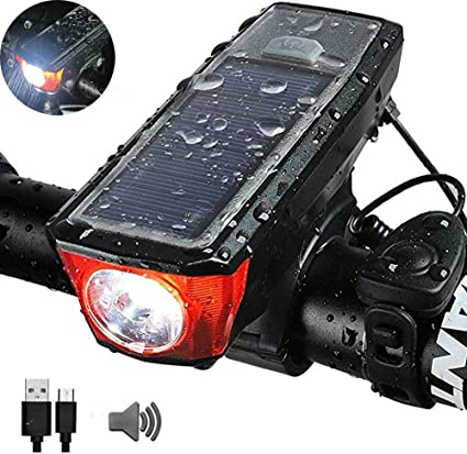 Waterproof Bicycle Handlebar Front Light With Horn LED USB Rechargeable Durable