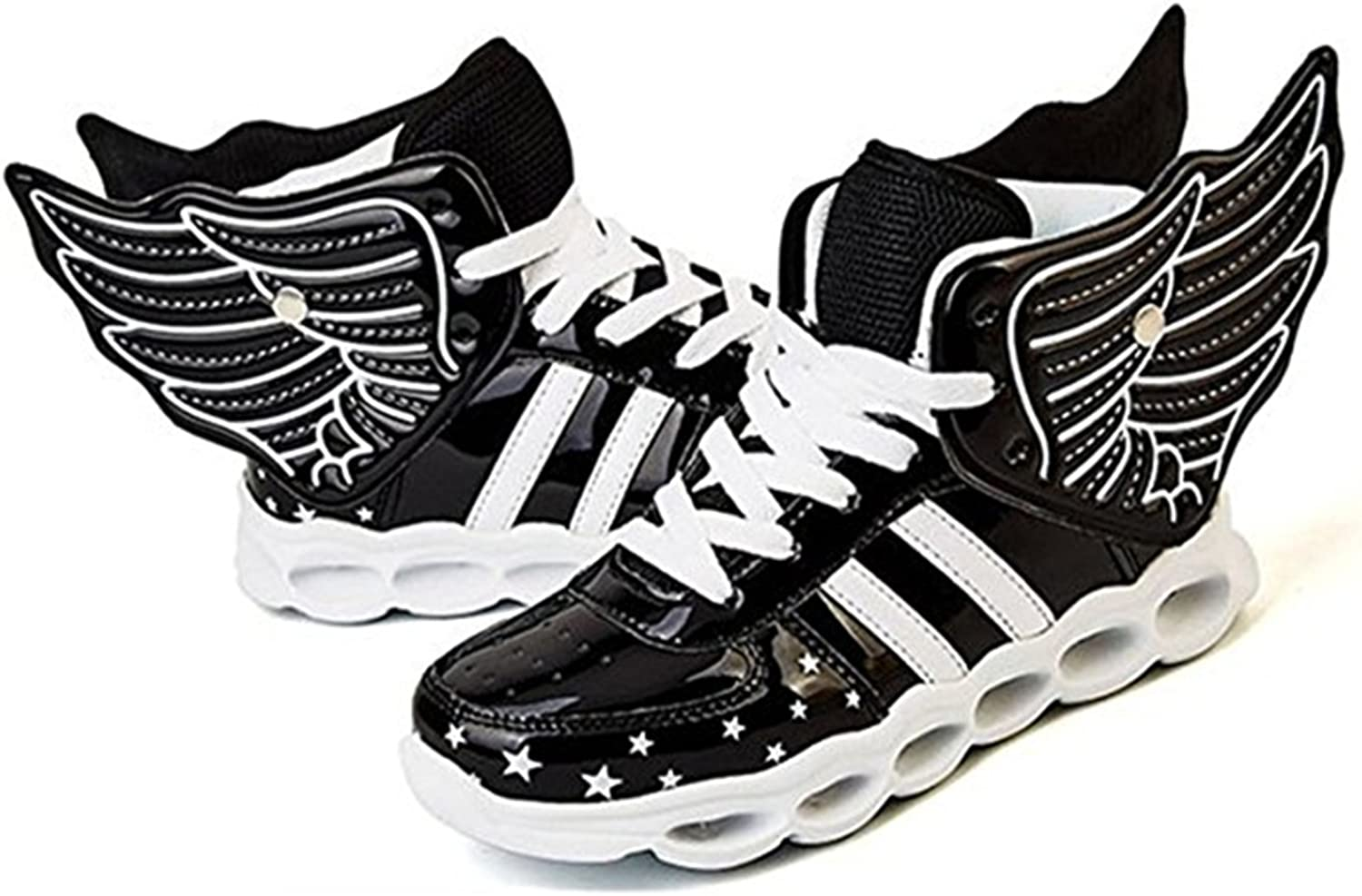 A2kmsmss5a Kids Breathable 7 Colors LED Sneakers Sport Shoes USB Rechargable Child Lace up Flashing Shoes