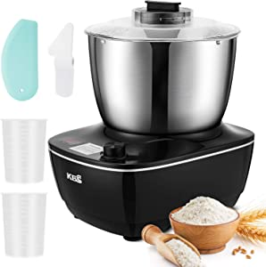KBS Stand Mixer, Double Mixing Blade Dough Maker, 4-QT Dough Mixer with Powerful Pure Copper Motor, Splash Guard, Dishwasher-Safe Accessories, Scraper, Stainless 304 steel (Black)