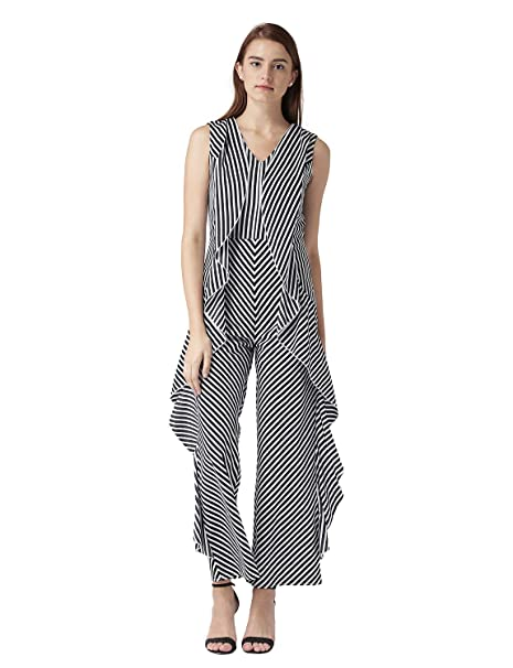 3f25cf4c0abb KASSUALLY Women Black White Coloured Printed Stripes Frilly Jumpsuit 10019   Amazon.in  Clothing   Accessories