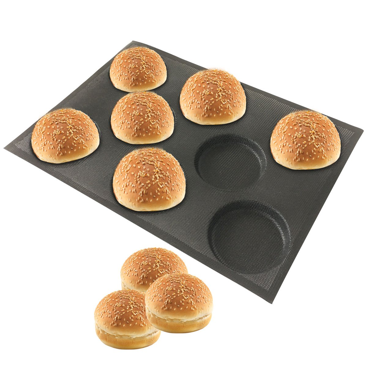 Bluedrop Silicone Hamburger Bread Forms Perforated Bakery Molds Non Stick Baking Sheets Fit Half Pan Size by Bluedrop