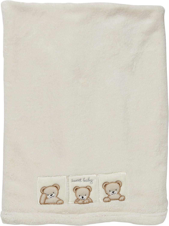 Kids Line Pram Boa Blanket with Bear Embroidery Ecru
