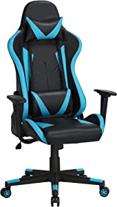 Topeakmart Functional Video Game Chairs High Back Computer Gaming Chair Ergonomic Racing Office Chair with Lumbar Support Swivel Task Chair Neon Blue