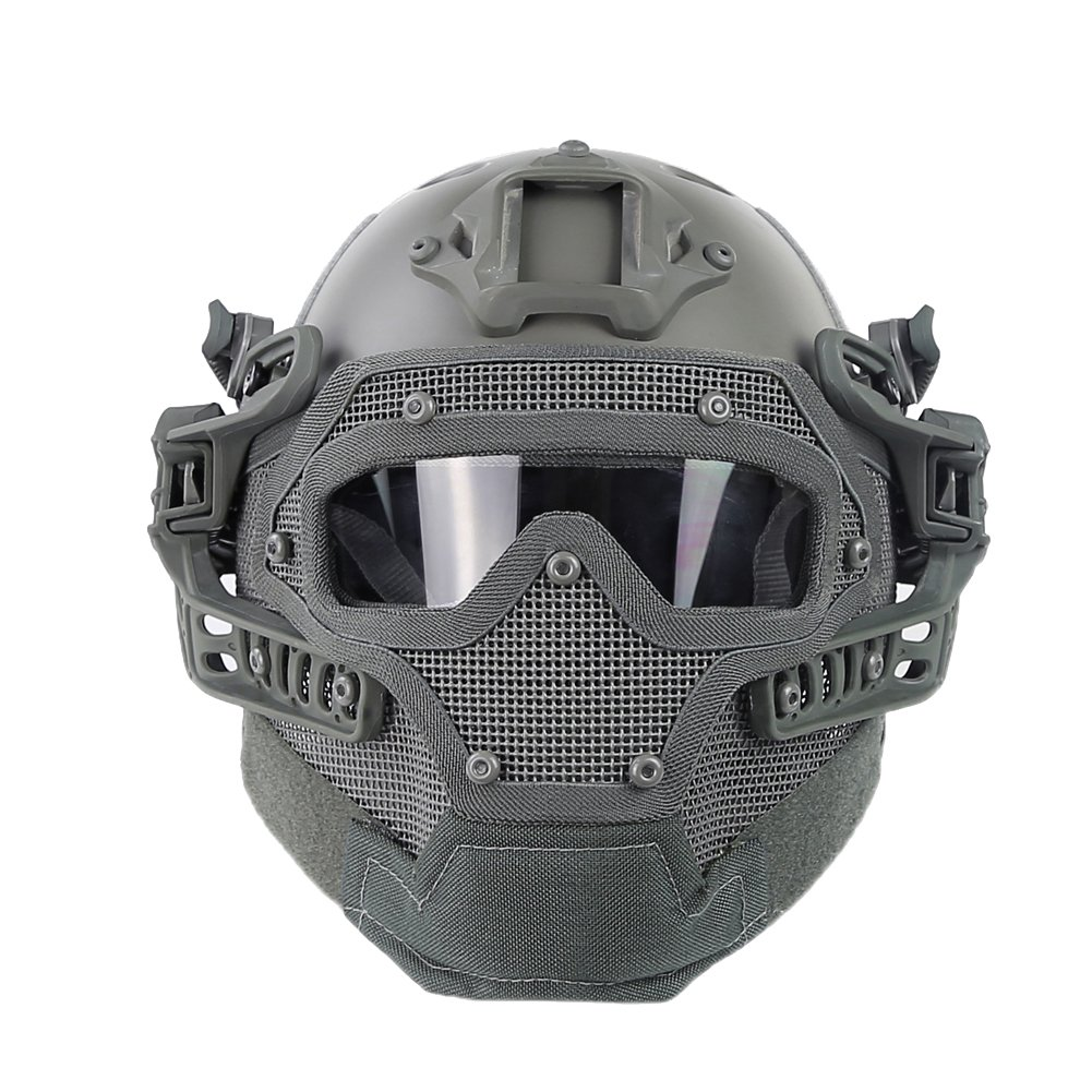 HYOUT Fast Tactical Helmet Combined with Full Mask and Goggles for Airsoft Paintball CS (G) by HYOUT