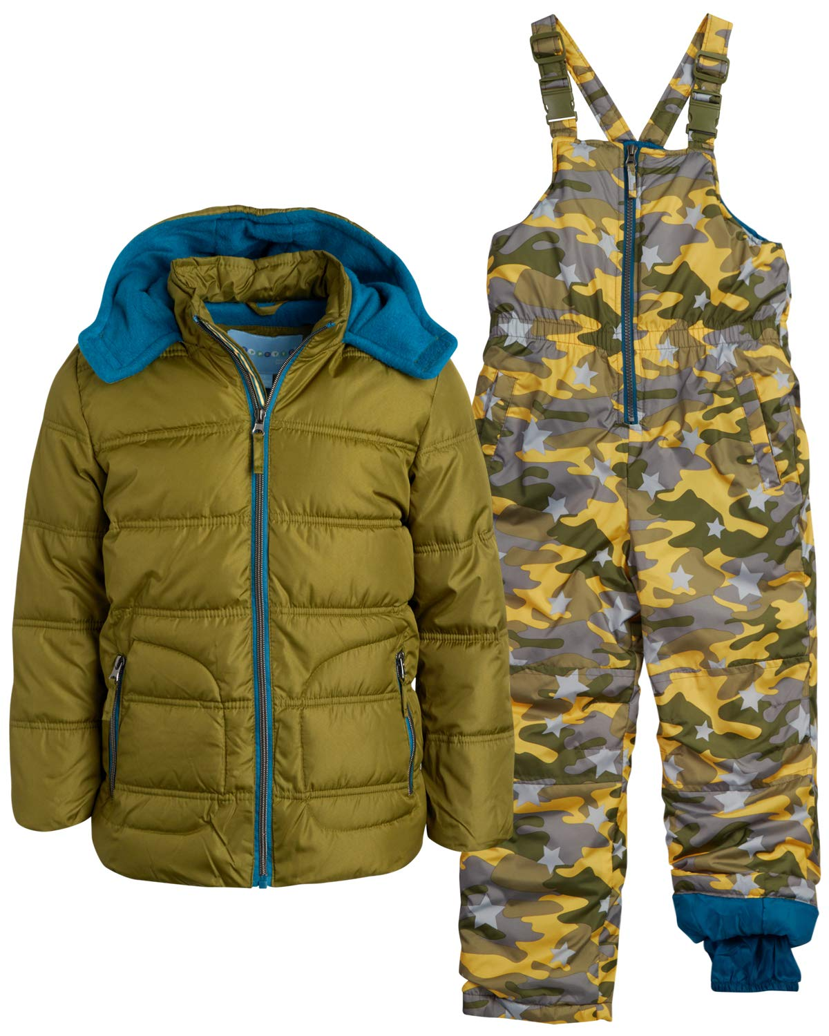 Wippette Boys' 2-Piece Heavyweight Snowsuit with Puffer Jacket and Snow Bib Pants, Size 5, Olive Camo by Wippette