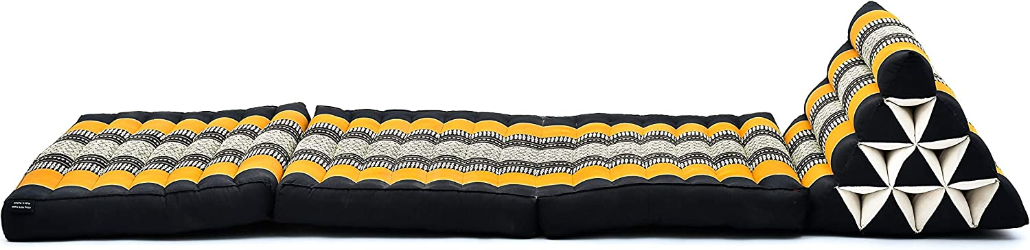 67x21x12 inches Black Orange Leewadee Foldout Triangle Thai-Cushion Floor-Seat with Back-Rest TV Pillow Lounge-r Foldable Out-Door Mattress Kapok