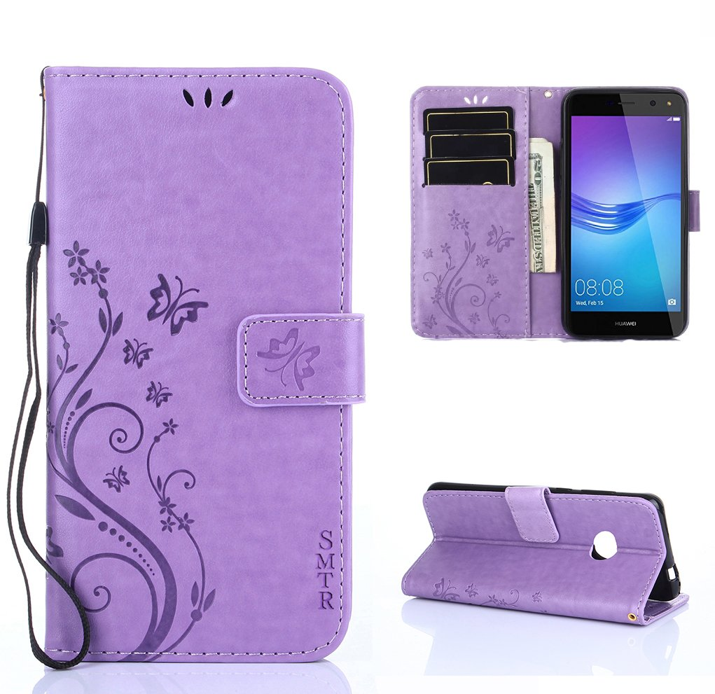 Huawei Y Funda SMTR Diseño retro del modelo de flores Leather Wallet