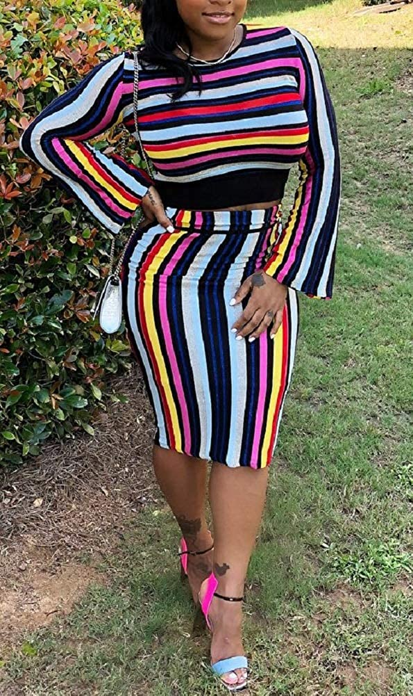 LETSVDO Womens 2 Piece Outfits Long Sleeve Striped Pullover Sweater and Bodycon Midi Skirt Set Tracksuit