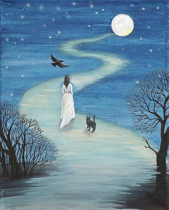 8x10  Hocus Pocus WITCH HOUSE Salem MA Water Color Art Print *Luna Moon Gothic Original Art*