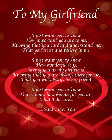 Personalised To My Girlfriend Poem Valentines Day Birthday Christmas