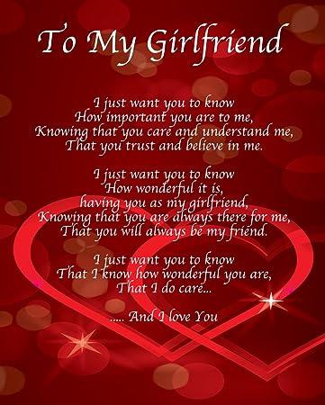 Personalisierbar To My Girlfriend Gedicht Valentinstag Geburtstag  Weihnachten Jahrestag Mann Frau Freund Freundin Geschenk Perfekt Für