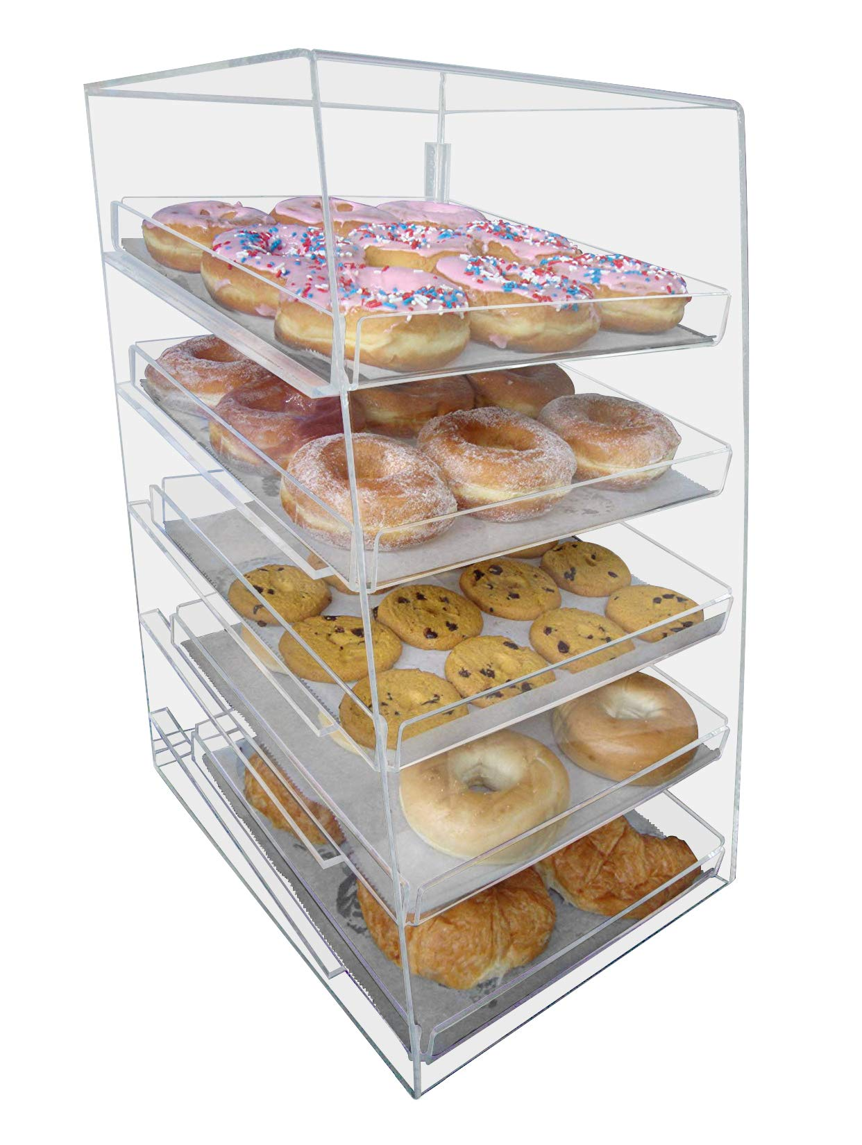 Marketing Holders Acrylic Pastry Bakery Donuts Cupcake Display Case with Trays (5 Trays)