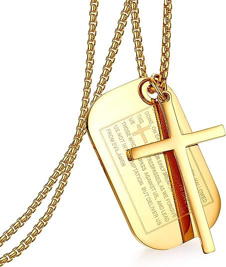 Cupimatch Collier Dog Tag Pendentif Cha/îne Pendentif Croix Bible Homme Anglais Couleur au Choix
