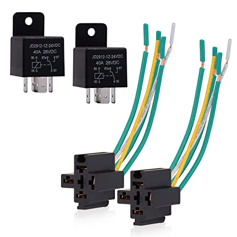 Ehdis Car Truck Relay Socket Harness kit 5 Pin 5 Pre-Wired 24V 40 Amp on
