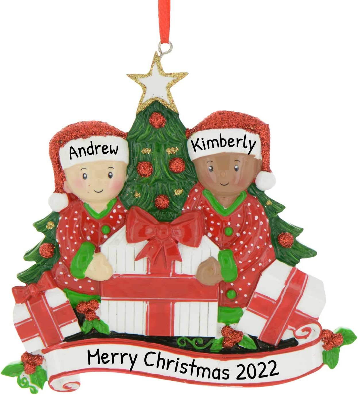 Opening Presents On Christmas Day 2020 Amazon.com: Personalized Mixed Race Opening Presents Family of 2