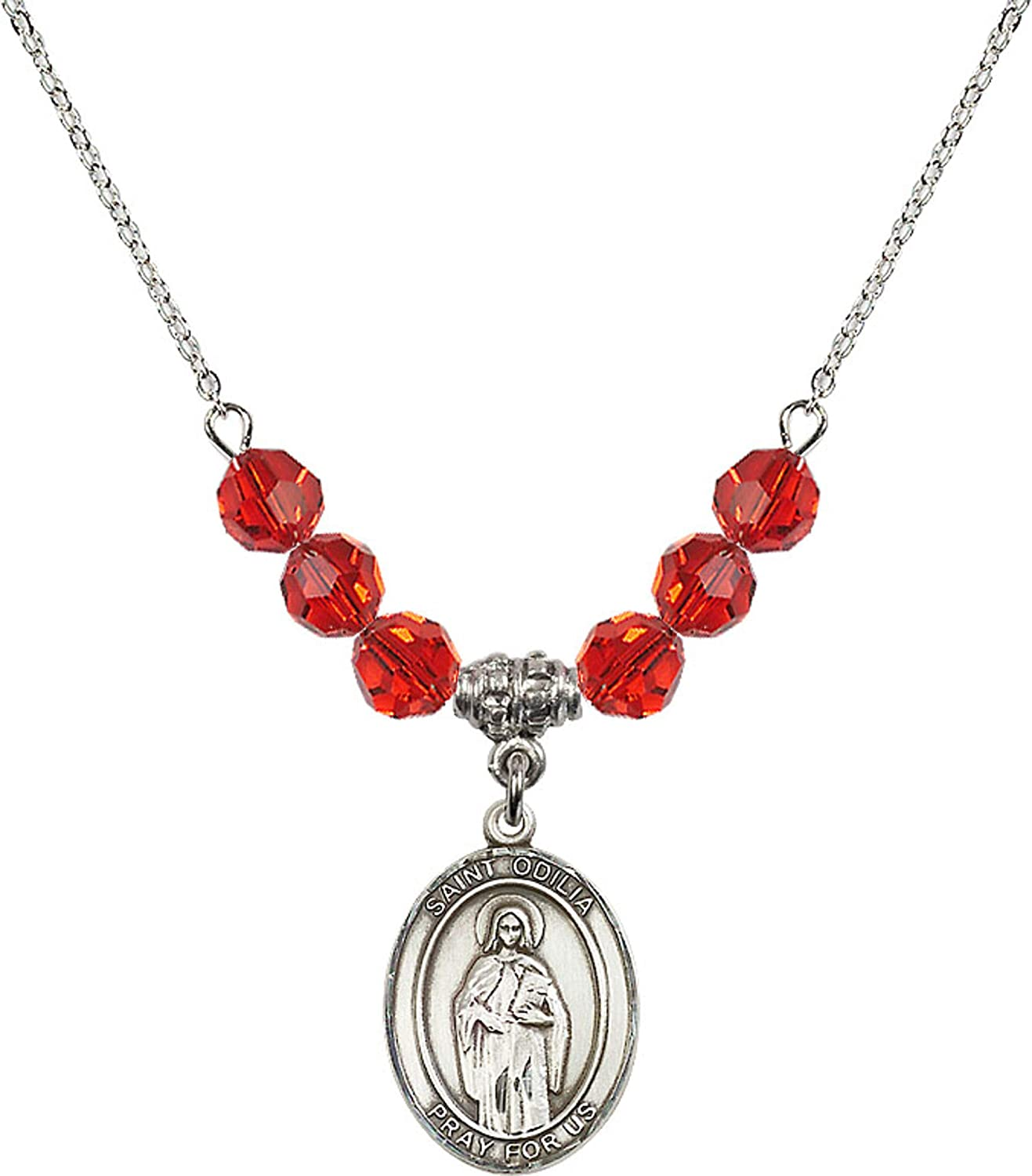 Bonyak Jewelry 18 Inch Rhodium Plated Necklace w// 6mm Red July Birth Month Stone Beads and Saint Odilia Charm