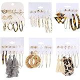 Makone 36 Pairs Fashion Earrings for Women, Stylish Teen Girls Tassel Dangle Earring & Pearl Stud Jewelry Set, Leather…