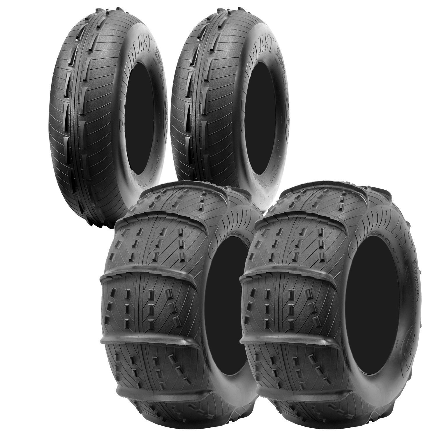 CST Sandblast 28'' Complete Front and Rear UTV Sand Tire Package- 28x10-14, 28x12-14