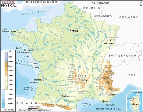 Amazon.com : France Physical Map - Laminated (36\