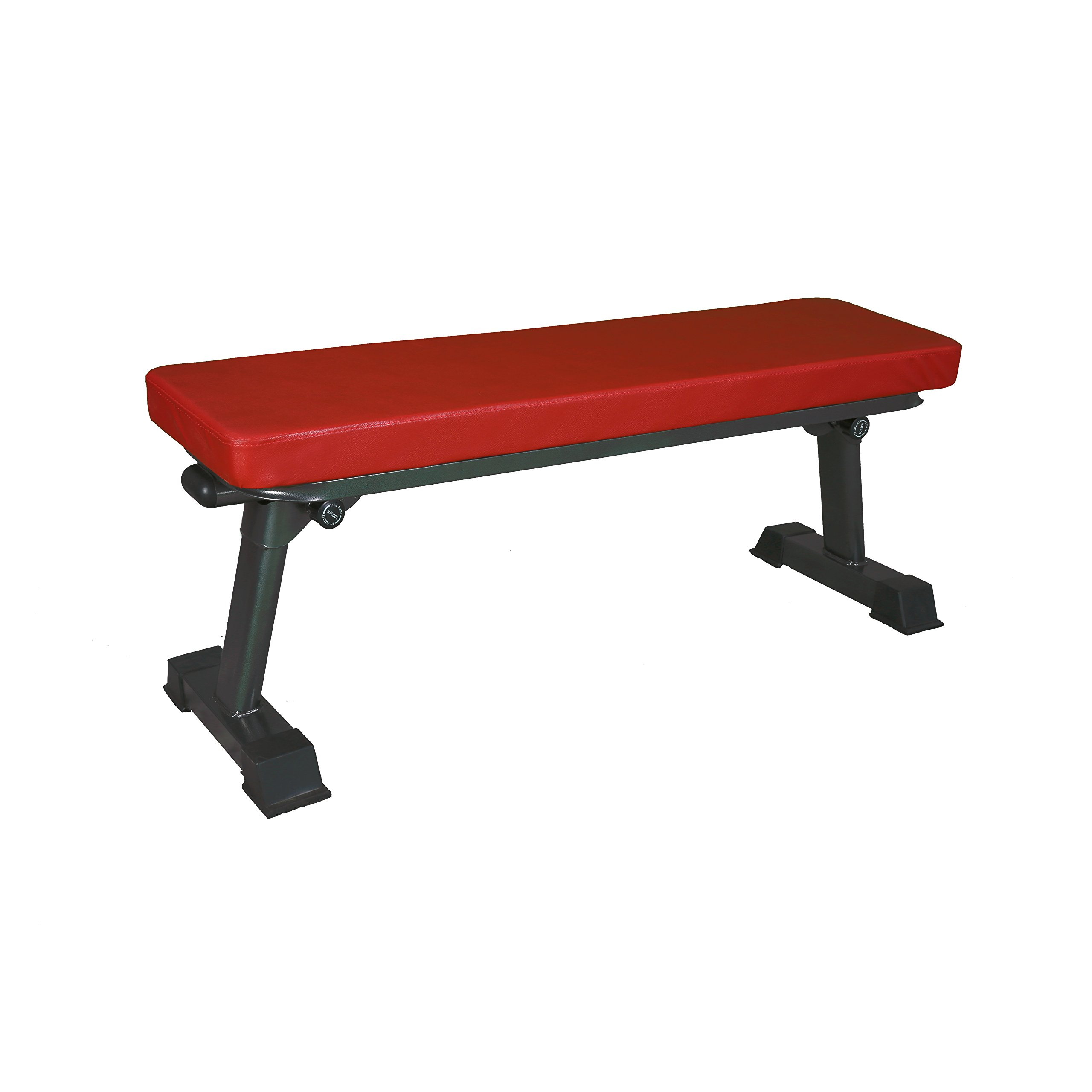 Finer Form Gym Quality Foldable Flat Bench for Multi-Purpose Weight Training and Ab Exercises (Red) by FF Finer Form