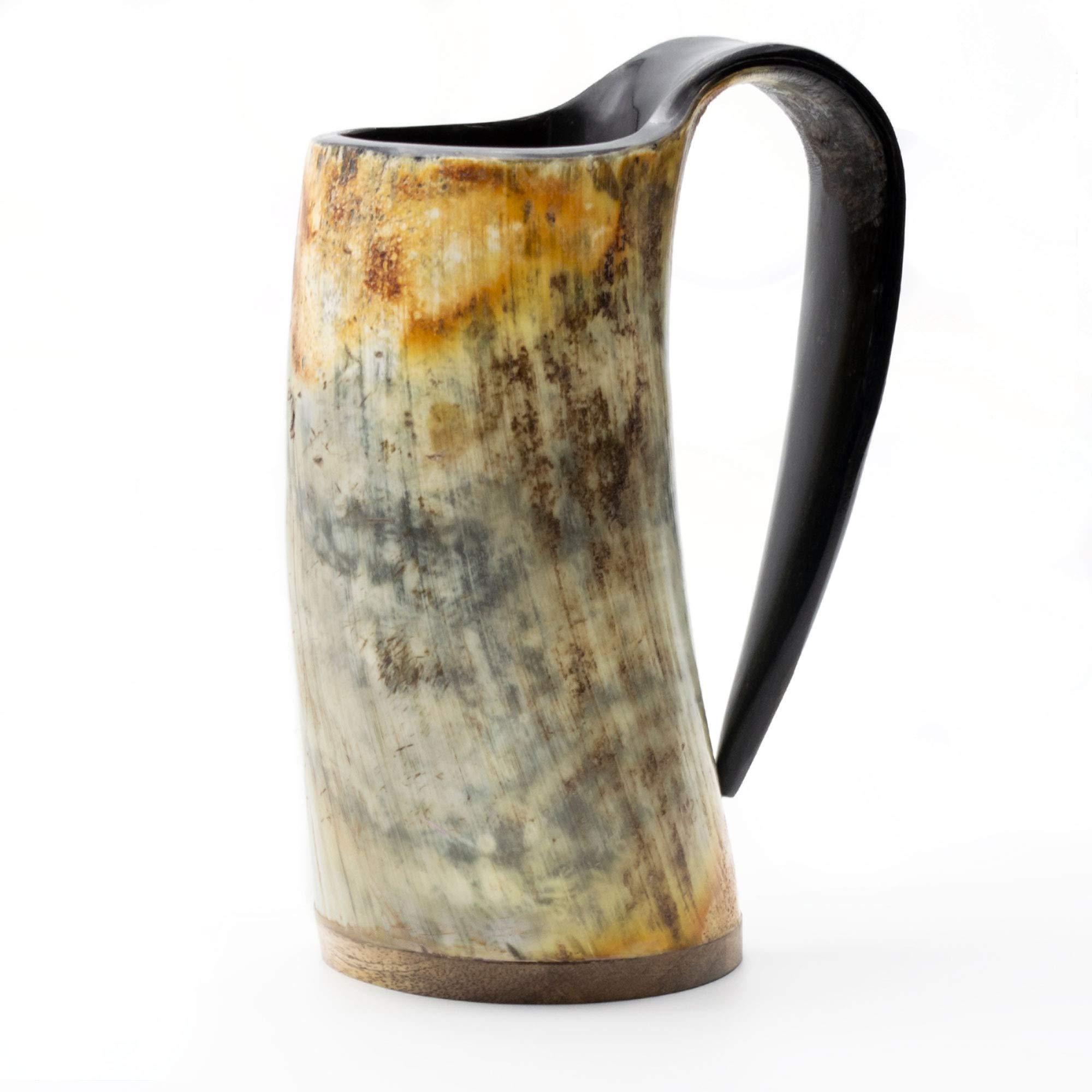 Norse Tradesman Original Viking Drinking Horn Mug - 100% Authentic Beer Horn Tankard w/Natural Surface & Burlap Gift Sack |''The Original'', Unpolished, Large