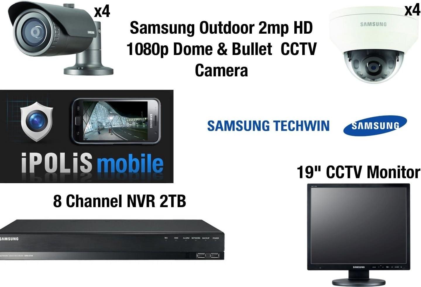Samsung 8 cámara CCTV Kit - Full HD 1080p 4 cúpula y 4 balas 2MP externo con 8 CH NVR 2TB móvil de visualización y 19