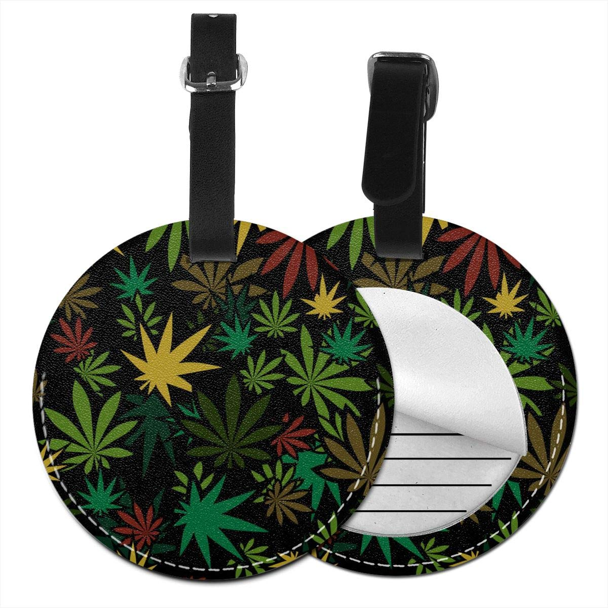 Colorful Weed Leather Round Luggage Tags Suitcase Labels Bag