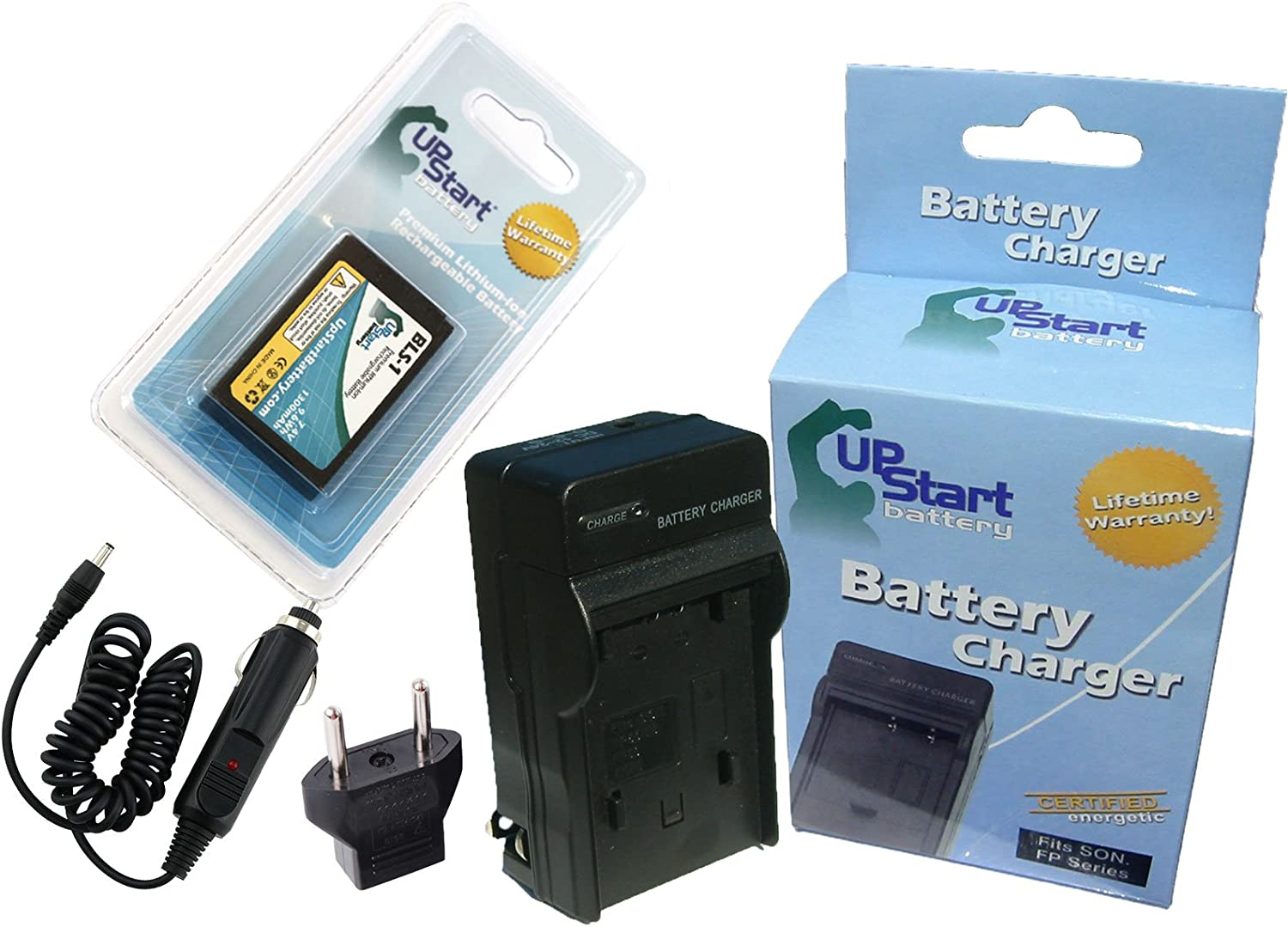 1150mAh 7.4V Lithium-Ion Replacement for Olympus E600 Battery and Charger with Car Plug and EU Adapter Compatible with Olympus BLS-1 Digital Camera Batteries and Chargers
