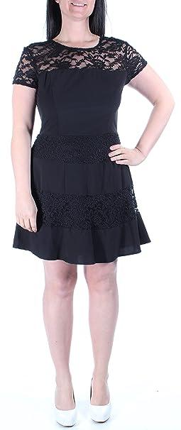 14821ad902a Amazon.com  B Darlin New Womens 1015 Black Striped Cap Sleeve A-Line ...