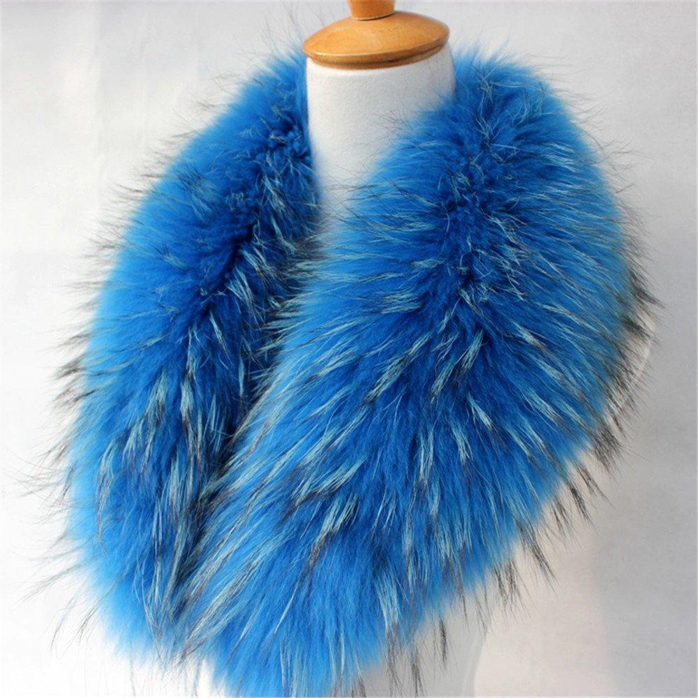 真アライグマ毛皮の襟マフラー生きgegefur女子6色 B01DG5LBQW 90cm|ライトブルー ライトブルー 90cm