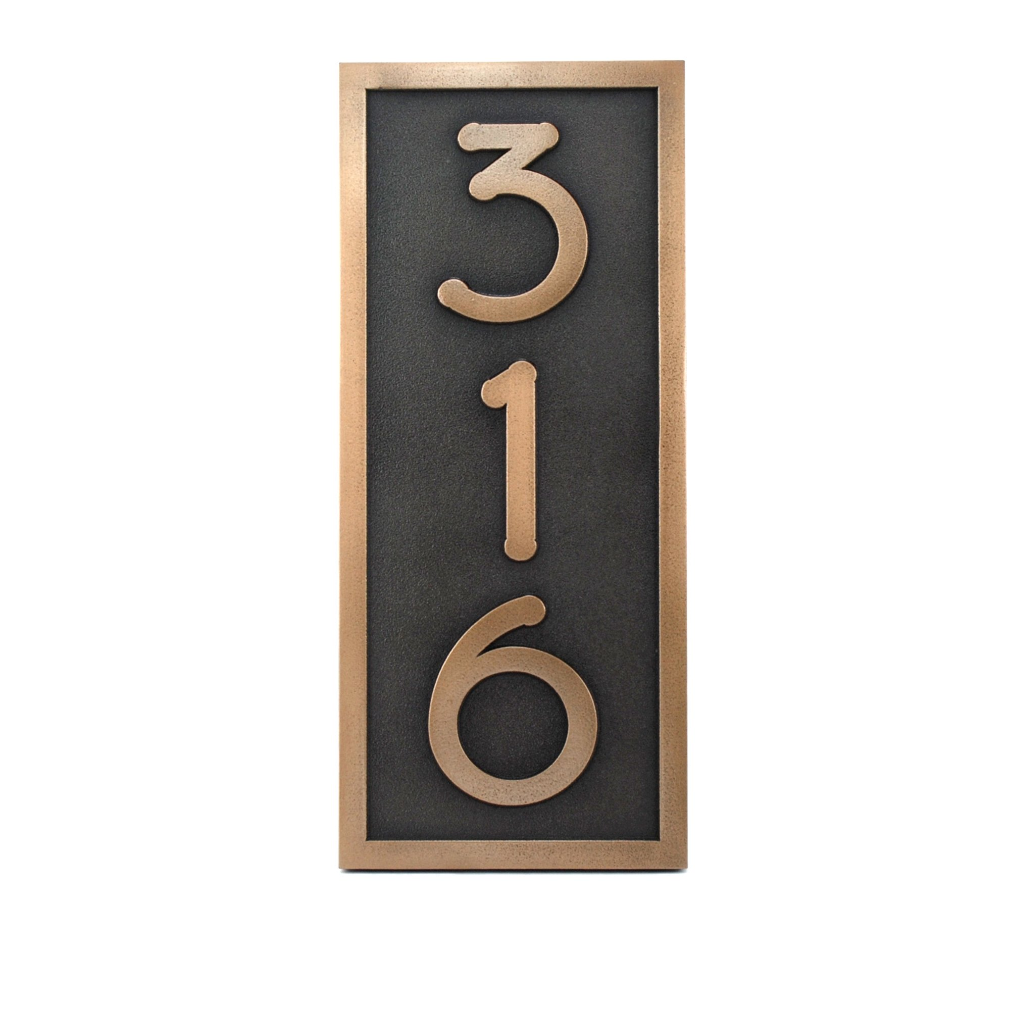 Frank Lloyd Vertical Customized Home Numbers 3 Number 6.5x15 - Raised Bronze Metal Coated
