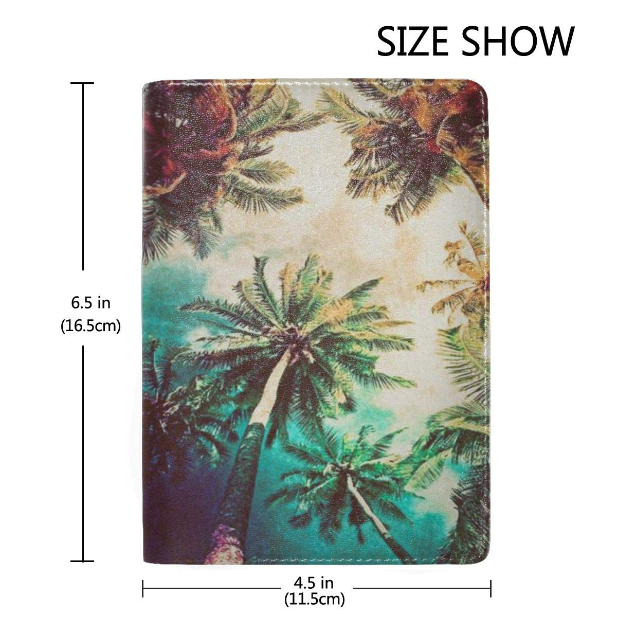 Retro Watercolor Silhouettes Of Palm Trees Fashion Leather Passport Holder Cover Case Travel Wallet 6.5 In