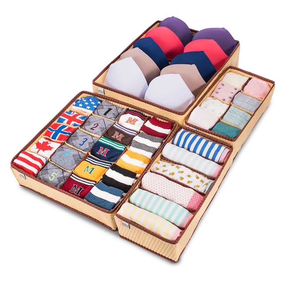 MIU COLOR Drawer Organizer, Closet Organizer Bra Underwear Drawer Divider 4 Set Beige 86-0678-001