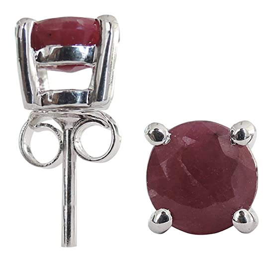 2.56 CTS, 6mm Round Shape Genuine Ruby .925 Sterling Silver Earrings Earrings at amazon