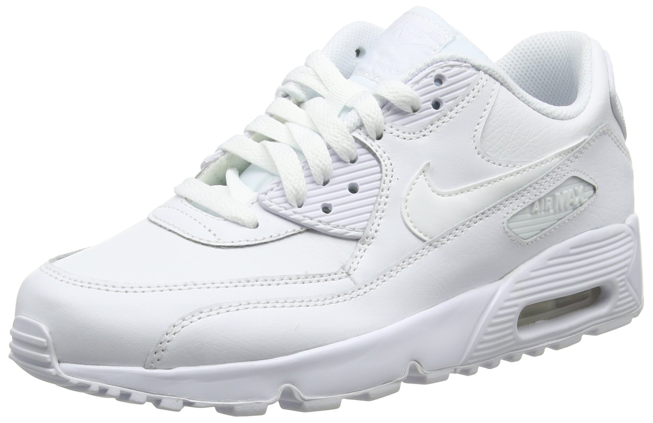 b65324de4b Galleon - NIKE Kids Air Max 90 LTR (GS) Running Shoe (6.5 M US Big Kid,  White/White)