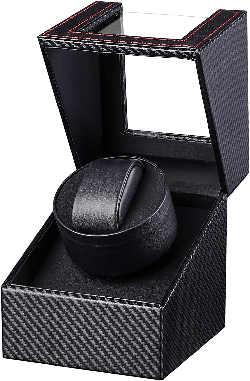 Gifort Caja de enrollador de Reloj automático, Caja de Reloj de Cuero Gifort Single Watch enrollador PU con Motor silencioso, Alimentado por batería o Adaptador de CA
