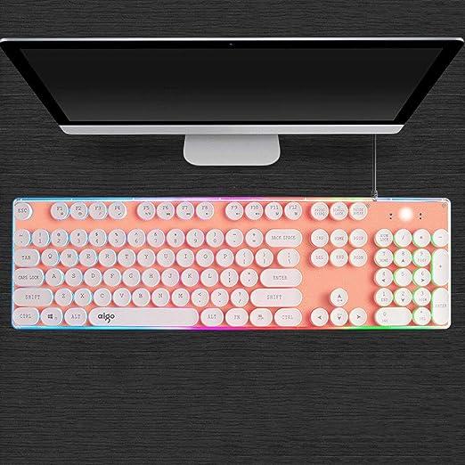Crystal Keyboard Wired Punk Retro Backlit Laptop Desktop Office Home External USB Mechanical Sense Color : Rainbow Punk red
