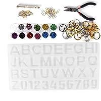 Epoxyhars Mallen, Crystal Epoxy Mold Kit, DIY Alfabet Nummer Siliconen Mal, Ketting Hanger Hars Sieraden Maken…
