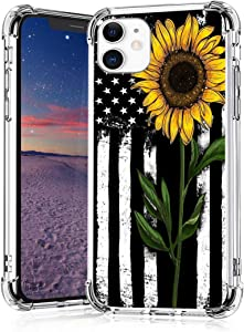 Sunflower American Flag Case for iPhone 11,11 Pro,11 Pro Max, iPhone X, XR, iPhone 7/8,7/8 Plus, Flexible TPU Shockproof Protective Case Cover