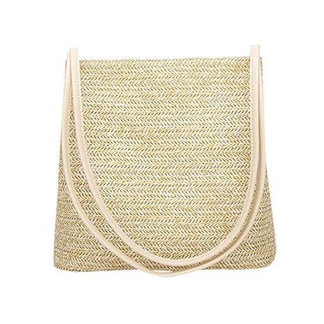 Summer Women Durable Weave Straw Beach Bags Feminine Linen Woven Bucket Bag  Grass Casual Tote Handbags 014ab7375fc5