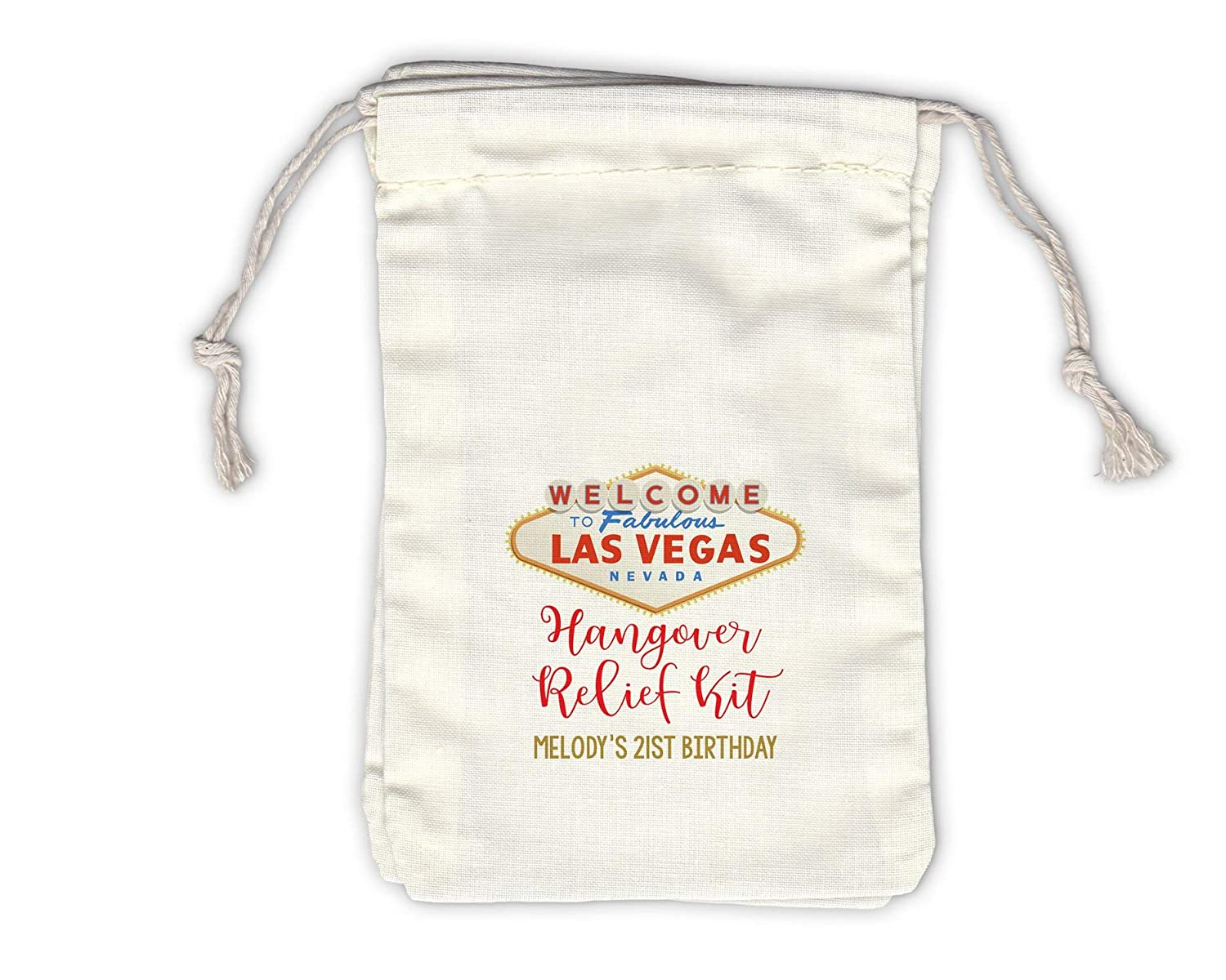 Las Vegas Hangover Relief Kit Favor Bags for Birthday, Bachelorette - Drawstring Fabric Pouches - Set of 12 (1048-HRC)