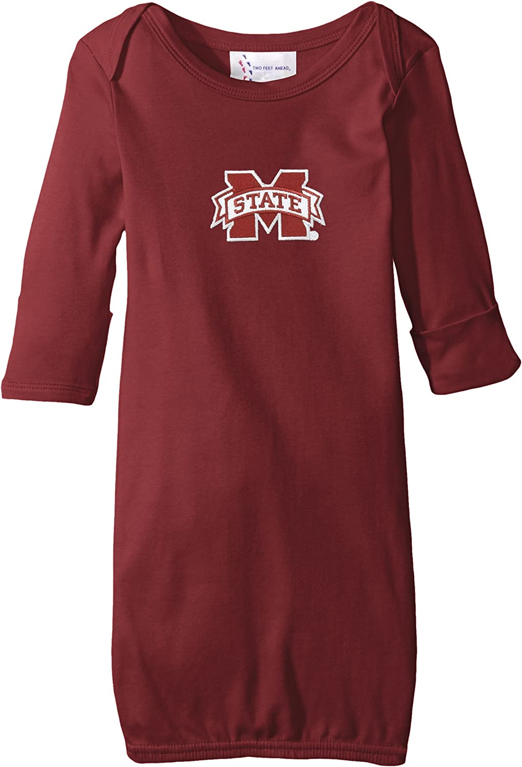Two Feet Ahead NCAA Mississippi State Bulldogs Children Unisex Layette Gown,One Size,Maroon