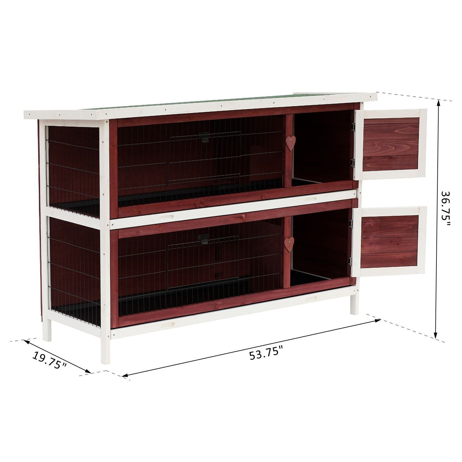 PawHut 54'' 2-Story Weatherproof Stackable Elevated Wooden Rabbit Hutch with Enclosed Run and Pull-Out Trays by PawHut (Image #7)
