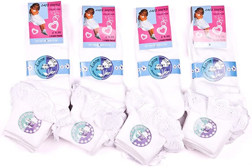 Warmland/® 12 Pairs of Girls White Cotton Ankle Socks with a Gingham Lace Frill School Dance Uniform Ballet Girls Kids