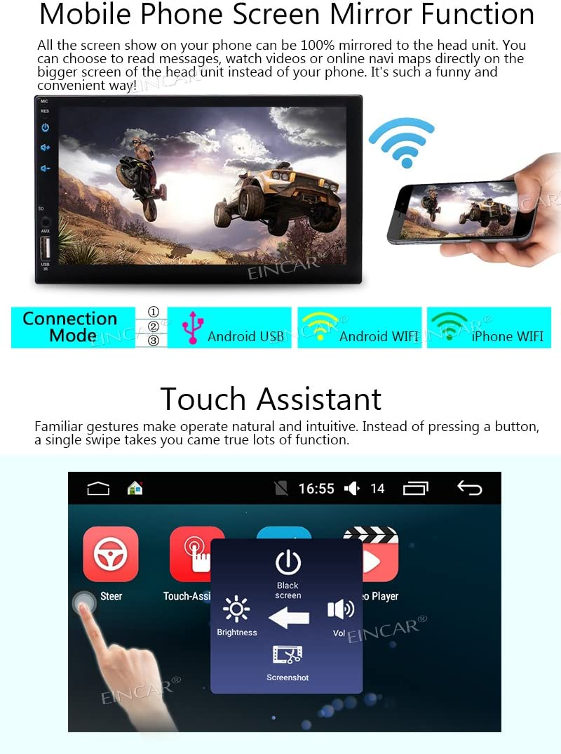 Android Car Stereo GPS Navigation 7 Inch Touch Screen Double Din FM AM RDS Radio 2 Din in Dash Head Unit with USD SD Ports External Microphone Bluetooth 4.0 Wireless Backup Camera Included