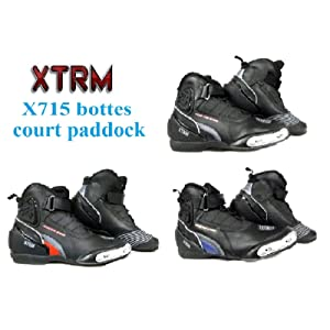 bottes de moto XTRM X715 hommes et femmes tourisme urbain chaussures cheville courte paddock (EU 43 (UK 9), noir / bleu)