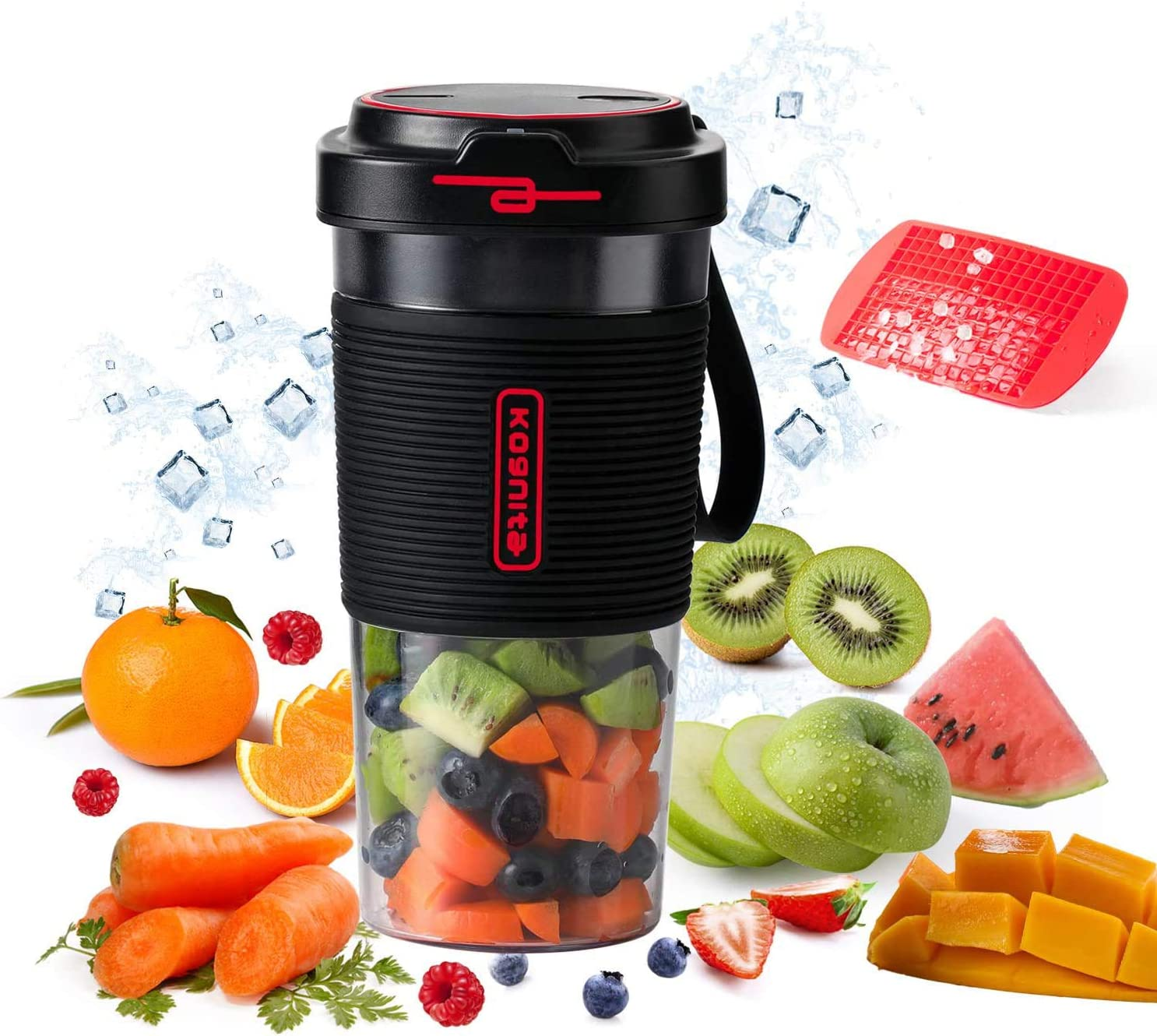 Personal Blender for Shakes and Smoothies - 17oz Cordless Portable Blender,60W Small Single Serve Blender,Travel Mini Size Blender Juicer with USB Rechargeable